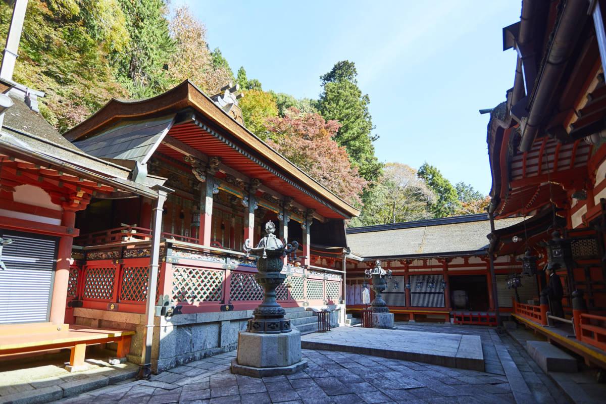 談山神社 紅葉 拝殿、本殿