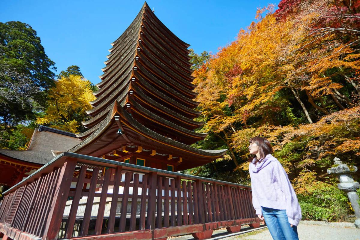 談山神社 紅葉 十三重塔